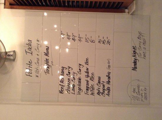 Petite India menu on Lello Lello front wall