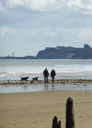 Whitby Beach: View toward Whitby from Sandsend