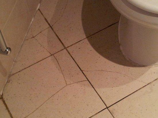 Hilton Bracknell: Cracked Tiles around toilet, bathroom