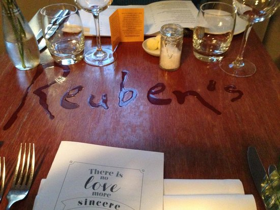 Reuben's: Loved the reminder on the tables about where we were!