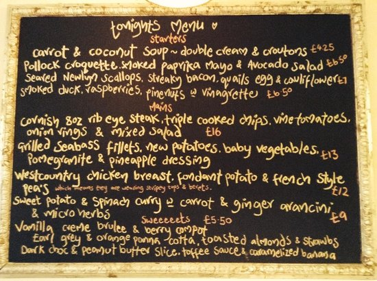 The Front Room Penzance: An example of the Friday/Saturday evening menu.. 6pm - 9pm x