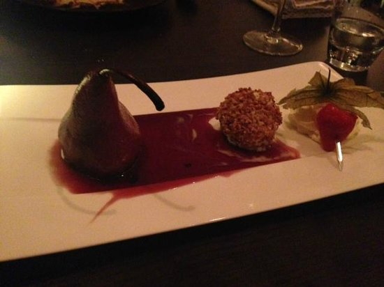 Quai 38 : Poached pear in red wine sauce.