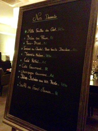 Quai 38 : Dessert menu.