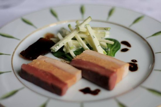 Le Stofflet : Terrine of pigeon, foie-gras, chicken. Little battonets of granny smith with a dill dressing.