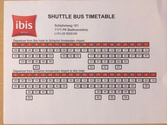Ibis Hotel Amsterdam Airport Shuttle Bus Timetable