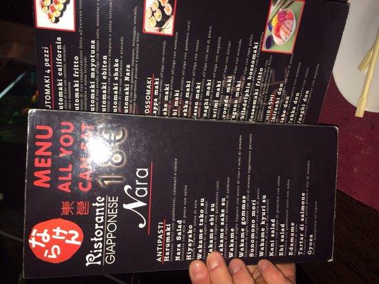 Nara Sushi Restaurant: Menù all you can eat
