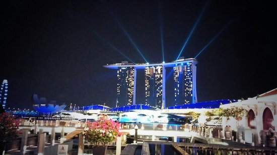 Jing Seafood Restaurant Marina Bay Sands Light Show View From Our Table