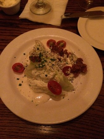 Pierpont's at Union Station: Westport Wedge-creamy lemon-Parmesan dressing, bacon, tomatoes, chives, and wine - Yalumba Viogn