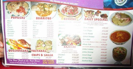 Pupuseria Salvadoreno: their menu