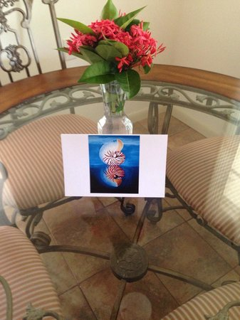 Antigua's Yepton Estate Cottages : a nice little welcome card