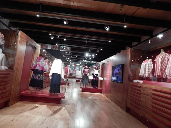Centro de Textiles del Mundo Maya: display case in textile museum