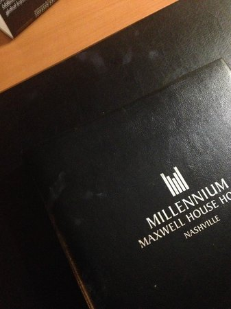 Millennium Maxwell House Nashville: Desk Mat and Hotel Info Book in room