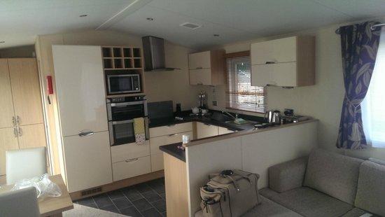 Mullion Cove Lodge Park: Kitchen with microwave, washing machine, dishwasher, oven, hob...