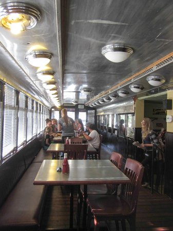 Art City Trolley: inside the trolley part of the restaurant