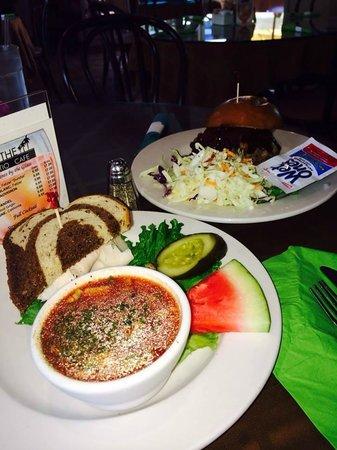 J C's Patio Cafe: Gazpacho soup, 1/2 turkey sandwich and bbq pork sandwich.