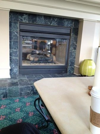 Hilton Garden Inn Spokane Airport: fireplace at Hilton