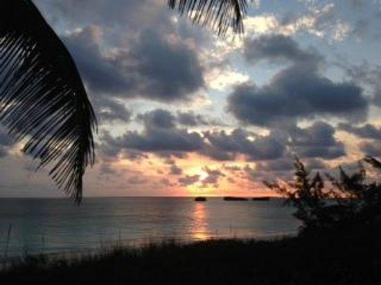 Exuma Palms Hotel: Sunrise over 3 Sisters, right off hotel beach
