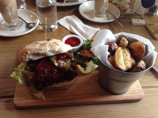 The Running Fox: Beef and Stilton burger with red chilli relish.