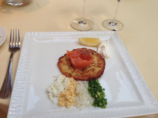 Restauracja Dom Polski: Very delicious potato pancakes with caviar & salmon