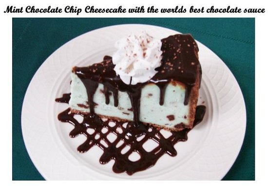 Glacier Bay Country Inn Restaurant: Mint Chocolate Chip Cheesecake
