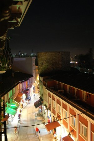 Sirkeci Mansion: View from balcony at night.