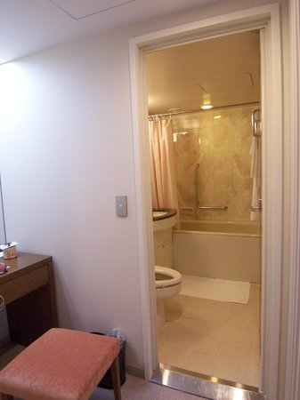 Keio Plaza Hotel Tokyo: view to the bathroom with dresser/mirror outside