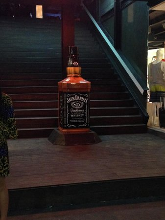 Vi Ai Pi: the trademark JD bottle at the steps