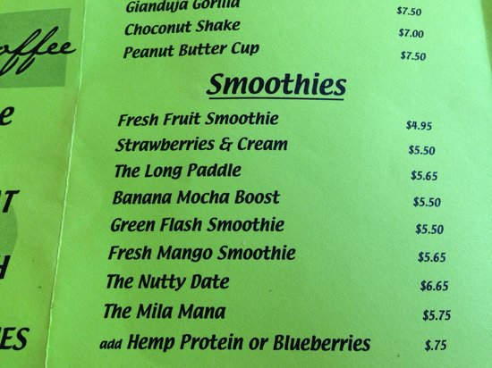 Green Flash Coffee : Some of da smoothies