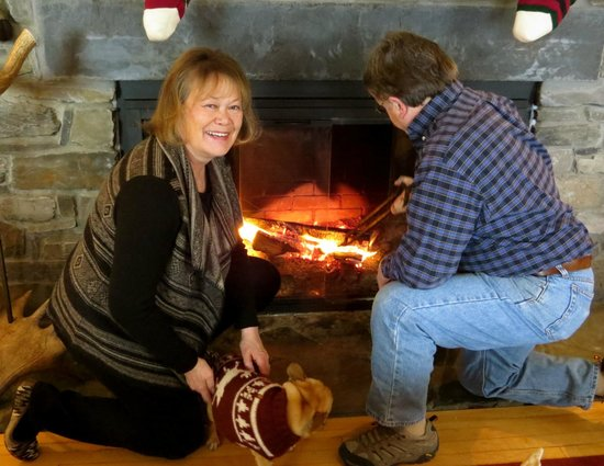 Lodge at Moosehead Lake: Keeping warm on a cold winter.
