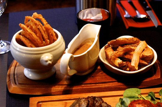 The Wine Barrel Steakhouse Ltd: Onion Rings, Peppercorn Sauce and Hand-cut Chips