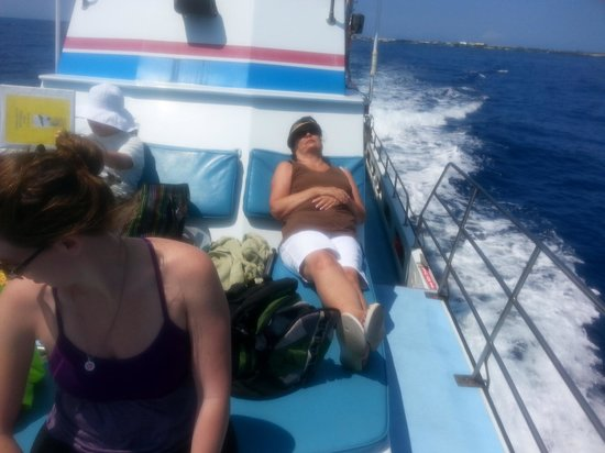 Captain Dan McSweeney's Whale Watching Adventures: Comfy viewing spot on Captain Dan McSweeney's Whale Watching boat.