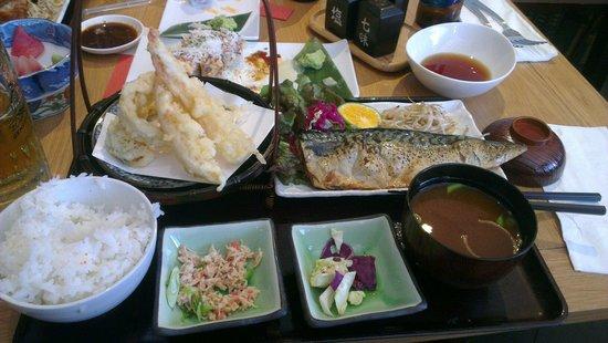 En Japanese restaurant: Dinner set