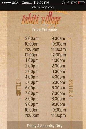 Tahiti Village: Shuttle times