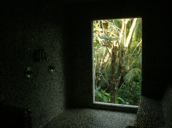Belcampo Lodge: Very cool windowed shower area looking into the jungle