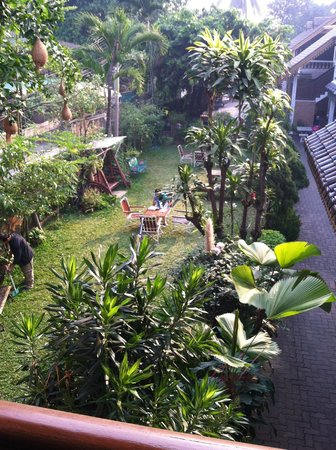 Galare Guest House : looking down on the courtyard, from our veranda