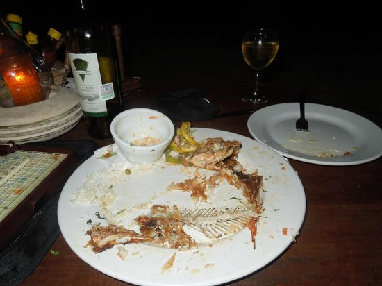 """Maya Luna Restaurant: Jan's response: """"you didn't eat the spine"""". Hahaha...I guess we liked it!!"""