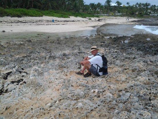 Tahiti Beach: Rough jagged rocks, wear your Keens