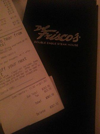 Del Frisco's: Dinner Bill from  DelFrisco's