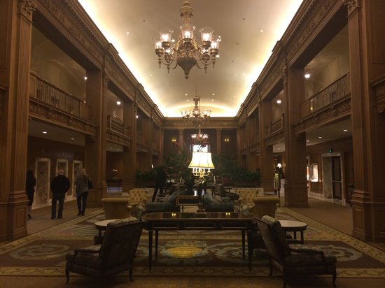 The Fairmont Olympic Seattle: The grand, wood paneled hotel lobby