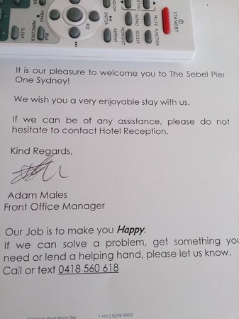 Pier One Sydney Harbour, Autograph Collection: Gorgeous note from staff