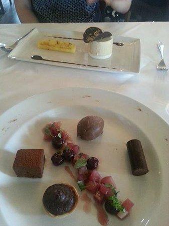 The Wild Mushroom: Chocolate'frivolity', and salted caramel parfait, marshmallow and glazed pineapple