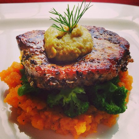 The Lemon Grass Cooking Class: oregano pork chops served with butterd squash mash and brocolli millanesse