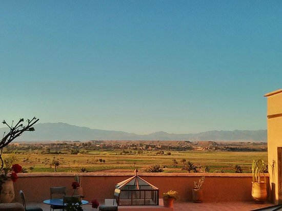 Dar Bladi: la vue depuis la terrasse, en fin d'après-midi