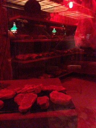 The Steak House: Meat reserve, like a wine cellar but for meat :-)