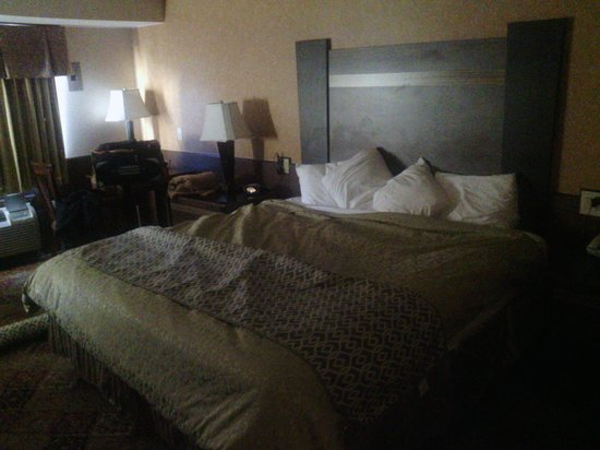 Best Western Regency House Hotel: Gold bedspread, with wood paneling and cheap laminate furniture