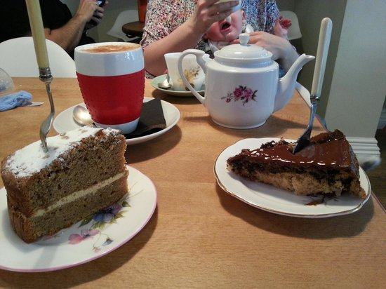 Tea And Little Cakes: Highly recommended chocolate and strawberry cake on the right!