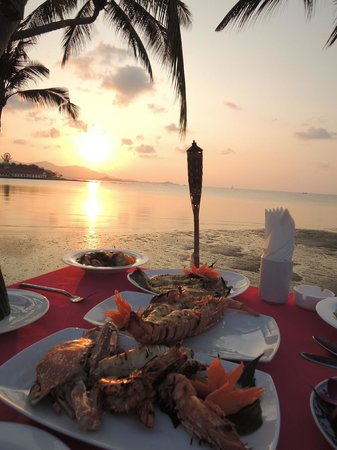 Tango Luxe Beach Villa: Honeymoon platter on the deck at sunset