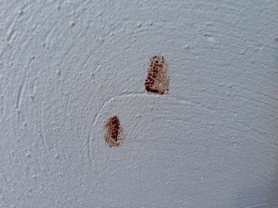 Langley Hotel Tignes 2100 : blood marks? on wall, not cleaned during our stay