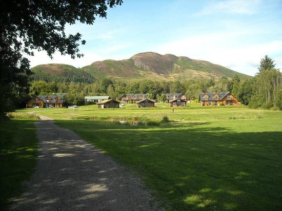 Loch Lomond Waterfront: View of the lodges from the Loch