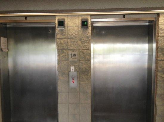 Ramada Plaza Resort and Suites Orlando International Drive : Elevadores do prédio em anexo... o da esquerda com defeito há 1 mês.